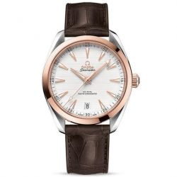 Men's OMEGA Seamaster Aqua Terra Watch Rose Gold Brown Leather Strap O22023412102001