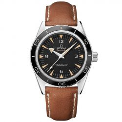 Men's OMEGA Seamaster Brown Leather Strap Watch O23332412101002