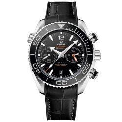 Men's OMEGA Seamaster Planet Ocean Chronograph Black Leather Strap Watch O2153346510100