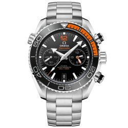 Men's OMEGA Seamaster Planet Ocean Master Chronograph Black and Orange Stainless Steel Watch O21530465101002