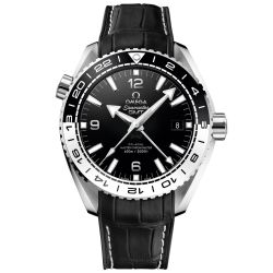 Men's OMEGA Seamaster Planet Ocean Master Chronometer Black Leather Strap Watch O21533442201001