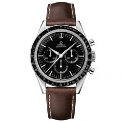 Men's OMEGA Speedmaster Chronograph Brown Leather Strap Moon Watch 031132403001001