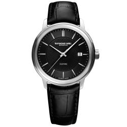 Men's Raymond Weil Maestro Black Dial and Leather Strap Watch 2237-STC-20001