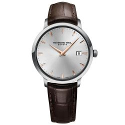 Men's Raymond Weil Toccata Silver-Tone Dial Leather Strap Watch 5488-SL5-6500