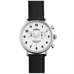 Men's Shinola 'The Canfield Chrono' White Dial Black Leather Strap Watch 20001941