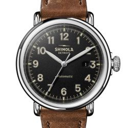 Men's Shinola 'The Runwell' Automatic Black Dial Brown Leather Strap Watch S0120141490