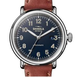 Men's Shinola 'The Runwell' Automatic Blue Dial Brown Leather Strap Watch S0120141492