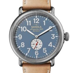 Men's Shinola 'The Runwell' Blue Dial Tan Leather Strap Watch S0120141506