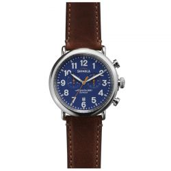 Men's Shinola 'The Runwell' Chronograph Blue Dial Leather Strap Watch