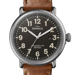 Men's Shinola 'The Runwell' Dark Grey Dial Brown Leather Strap Watch S0120141505