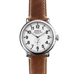 Men's Shinola 'The Runwell' Maple Leather Strap Watch, 47mm S0100010