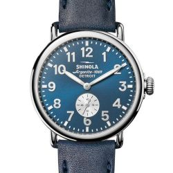 Men's Shinola 'The Runwell' Midnight Blue Dial Leather Strap 41mm Watch S0120044133