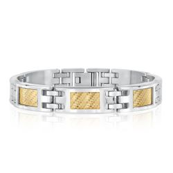 Men's Stainless Steel and Yellow Gold Plated Chain Link Bracelet