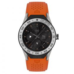 Men's Tag Heuer Connected Modular 45 Steel and Orange Rubber Strap Smart Watch SBF8A8014.11FT6081