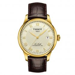Men's Tissot Le Locle Powermatic 80 Brown Leather Strap Watch T0064073626300