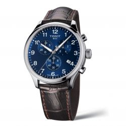 Men's Tissot XL Chrono Classic Blue Dial Brown Leather Strap Watch T1166171604700