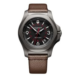 Men's Victorinox Swiss Army INOX Titanium Black Dial Brown Leather Strap 43mm Watch 241778
