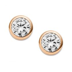 Michael Kors Crystal Bezel Rose Gold-Tone Stud Earrings