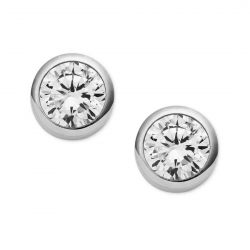 Michael Kors Crystal Bezel Silver-Tone Stud Earrings