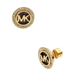 Michael Kors Golden Tortoise Logo Pave Stud Earrings