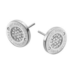Michael Kors Heritage Plaque Silver Logo Crystal Stud Earrings
