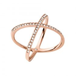 Michael Kors Pavé Rose Gold-Tone Midi Ring - Size 8