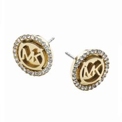 Michael Kors Yellow Gold-Tone Logo Disc Earrings