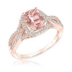 Morganite and Diamond Twist Rose Gold Ring 1/3ctw