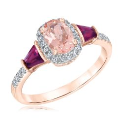 Morganite and Rhodolite Garnet Gemstone Ring 1/10ctw