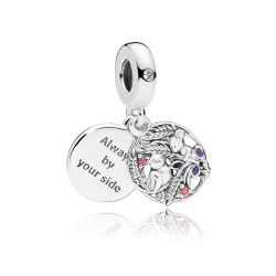 PANDORA Always By Your Side Dangle Charm, Multi-Colored Cubic Zirconia and Purple Enamel