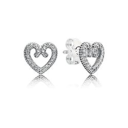 PANDORA Heart Swirls Stud Earrings, Clear Cubic Zirconia