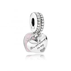 PANDORA Mother & Daughter Hearts Dangle Charm, Soft Pink Enamel & Clear Cubic Zirconia