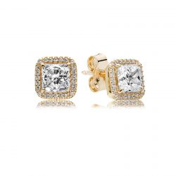 PANDORA Timeless Elegance Earrings, Gold and Clear Cubic Zirconia