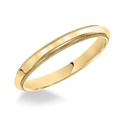 REEDS Priority Milgrain Low Dome Yellow Gold Band, 2.5mm