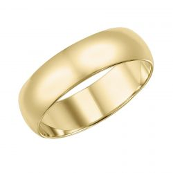 REEDS Priority Plain Low Dome Yellow Gold Band, 7mm