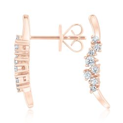 REEDS Exclusive Narrative Rose Gold Diamond Drop Earrings 1/4ctw