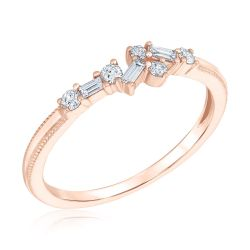 REEDS Exclusive Narrative Rose Gold Diamond Fashion Ring 1/6ctw