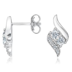 REEDS Two Diamond Unending Love Earrings 1/3ctw