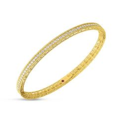 Roberto Coin Princess Oval Diamond Yellow Gold Bangle 5/8ctw