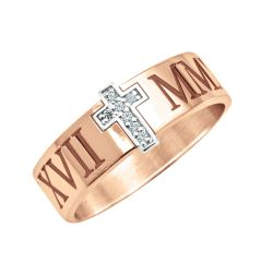 Roman Numeral With Diamond Accent Cross Ring (6mm)