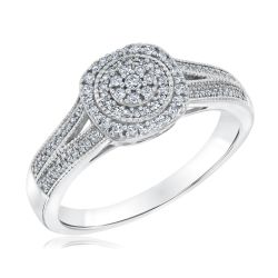 Round Diamond Cluster Halo White Gold Ring 1/4ctw