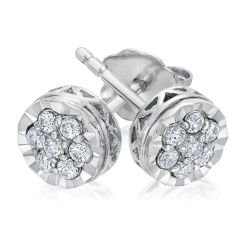 Round Diamond Cluster Stud Earrings 1/5ctw