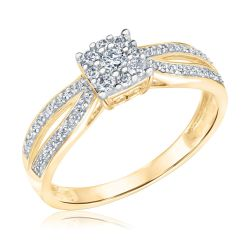Round Diamond Cluster Yellow Gold Ring 1/3ctw