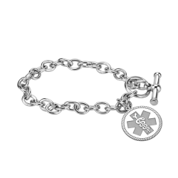 Round Medical and Health Alert Bracelet 20mm