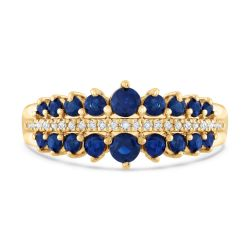 Sapphire and Diamond Yellow Gold Pyramid Ring 1/15ctw