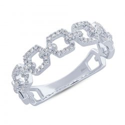 Shy Creation Diamond Link White Gold Ring 1/5ctw