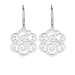 Single Initial Leverback Monogram Earrings 25mm