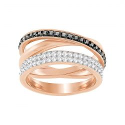 Swarovski Crystal Gray Hero Rose Gold-Plated Ring - Size 6