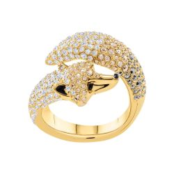 Swarovski Crystal March Fox Gold-Plated Ring - Size 7