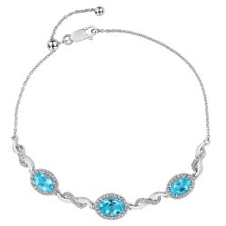 Swiss Blue Topaz and Created White Sapphire Bracelet